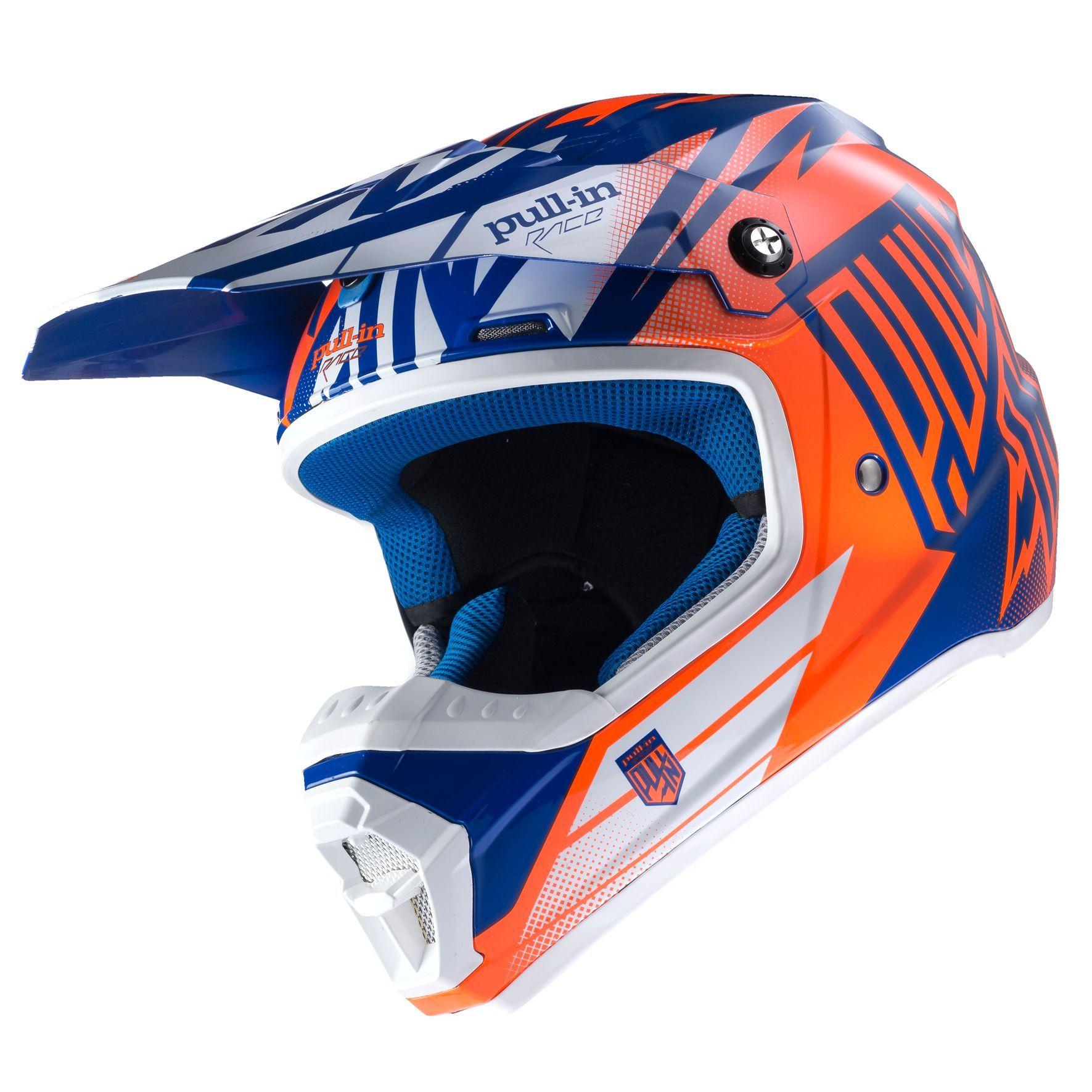 Casque Cross Pull In Destockage Moto Kid Bleu Orange Fluo 4