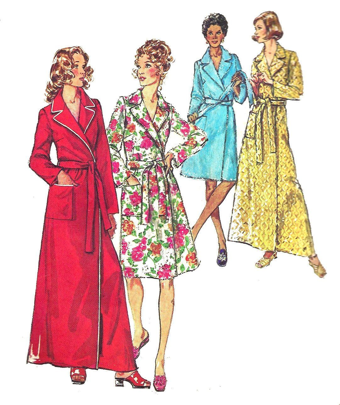 6bf7cccc9184c Womens Robe Pattern 1970s Long Short Robe Housecoat Simplicity 5989 Vintage  Sewing Womens Misses Size XL Bust 42 to 44 by SelmaLee on Etsy