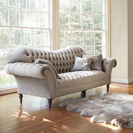 Club Petite 96 Upholstered Tufted Sofa In Wheatfield Tweed Living