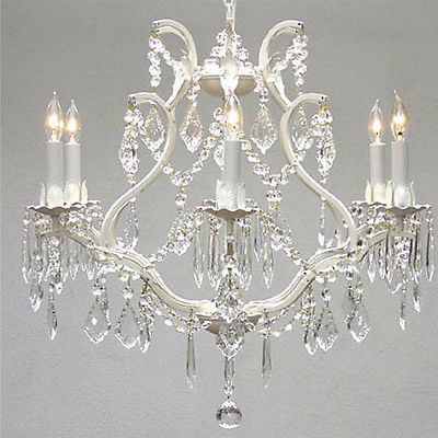 WHITE-WROUGHT-IRON-CRYSTAL-CHANDELIER-LIGHTING-FREE-SHIPPING-H-19-W-20
