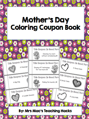This Fun And Creative Mother S Day Coupon Book Allows Students To Color Each Page To Make It Individualized And Pe Coupon Book Mother S Day Coupons Mothers Day