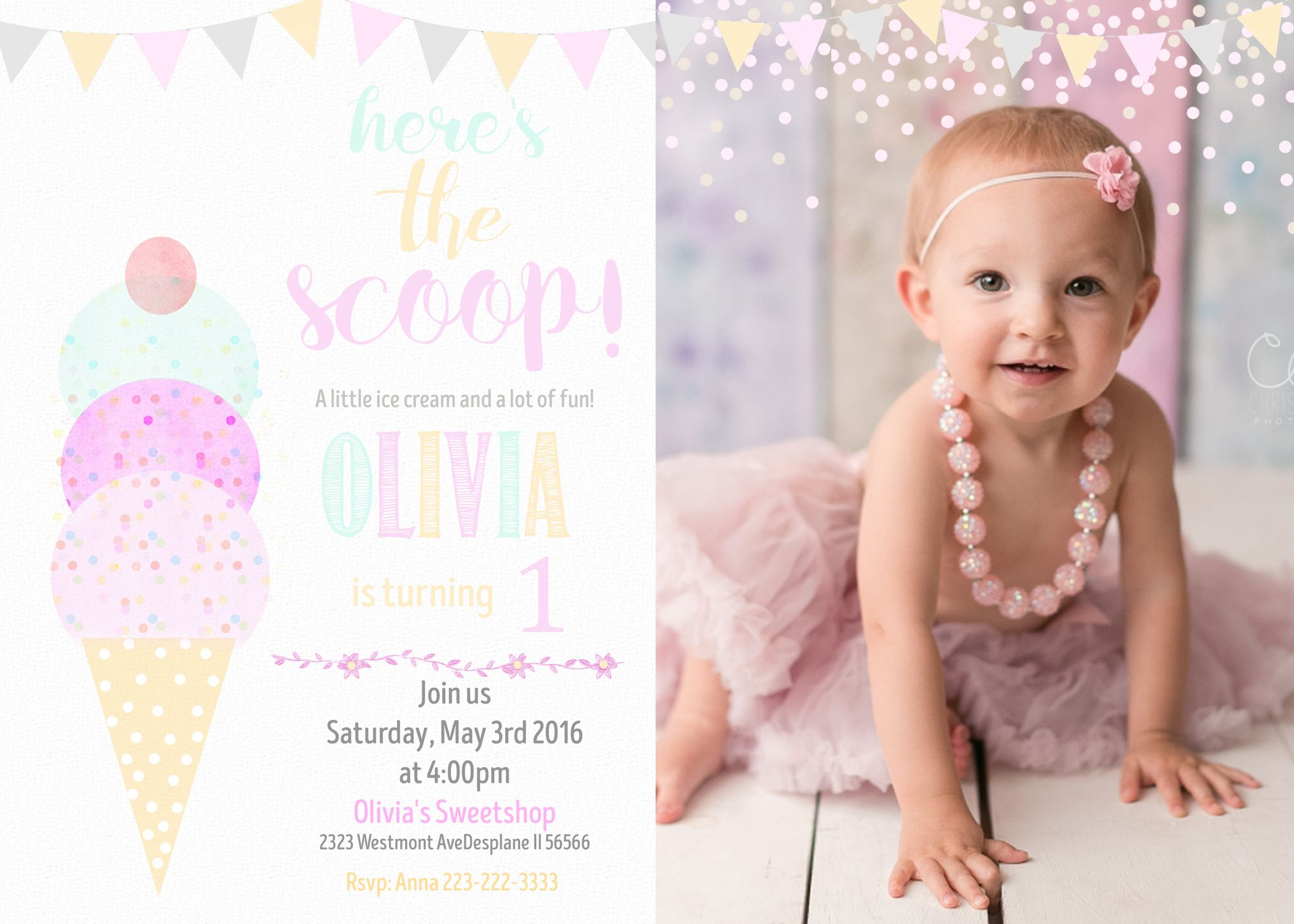 wording ideas forst birthday party invitation%0A Ice Cream Birthday invitation Watercolor Ice cream
