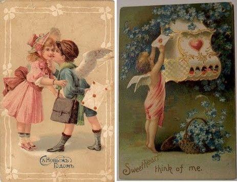 Cartões Antigos do Dia dos Namorados - Vintage Valentine's Day Cards