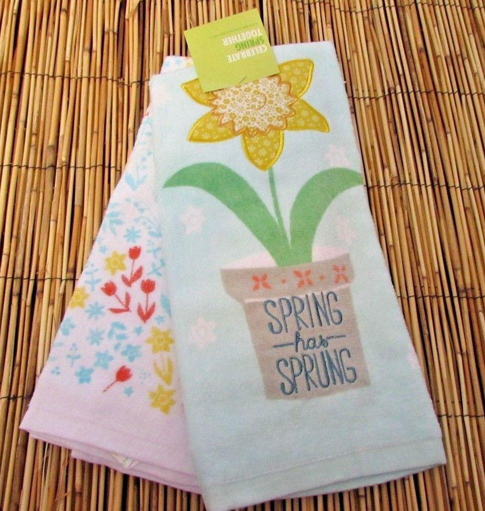 Spring Has Sprung Yellow Daffodil Decorative Kitchen Towel 2 Pk