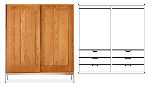Linear Anywhere Armoire With Double Short Wardrobes U0026 6 Drawers In Cherry  W/SS