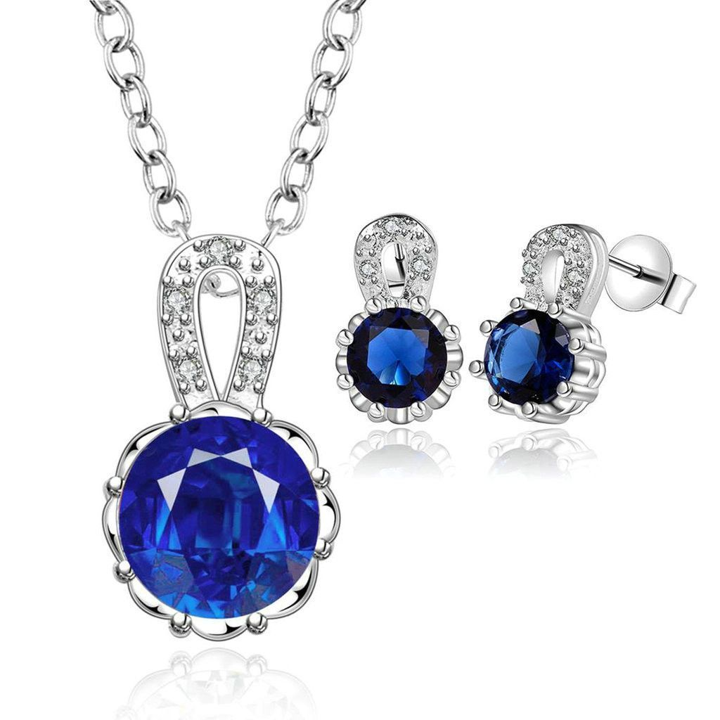 Womenus silver plated jewelry sets pendant necklace stud earrings