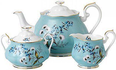 Royal Albert 100 YEARS 1950 3-PIECE TEAPOT, SUGAR & CREAMER SET FESTIVAL