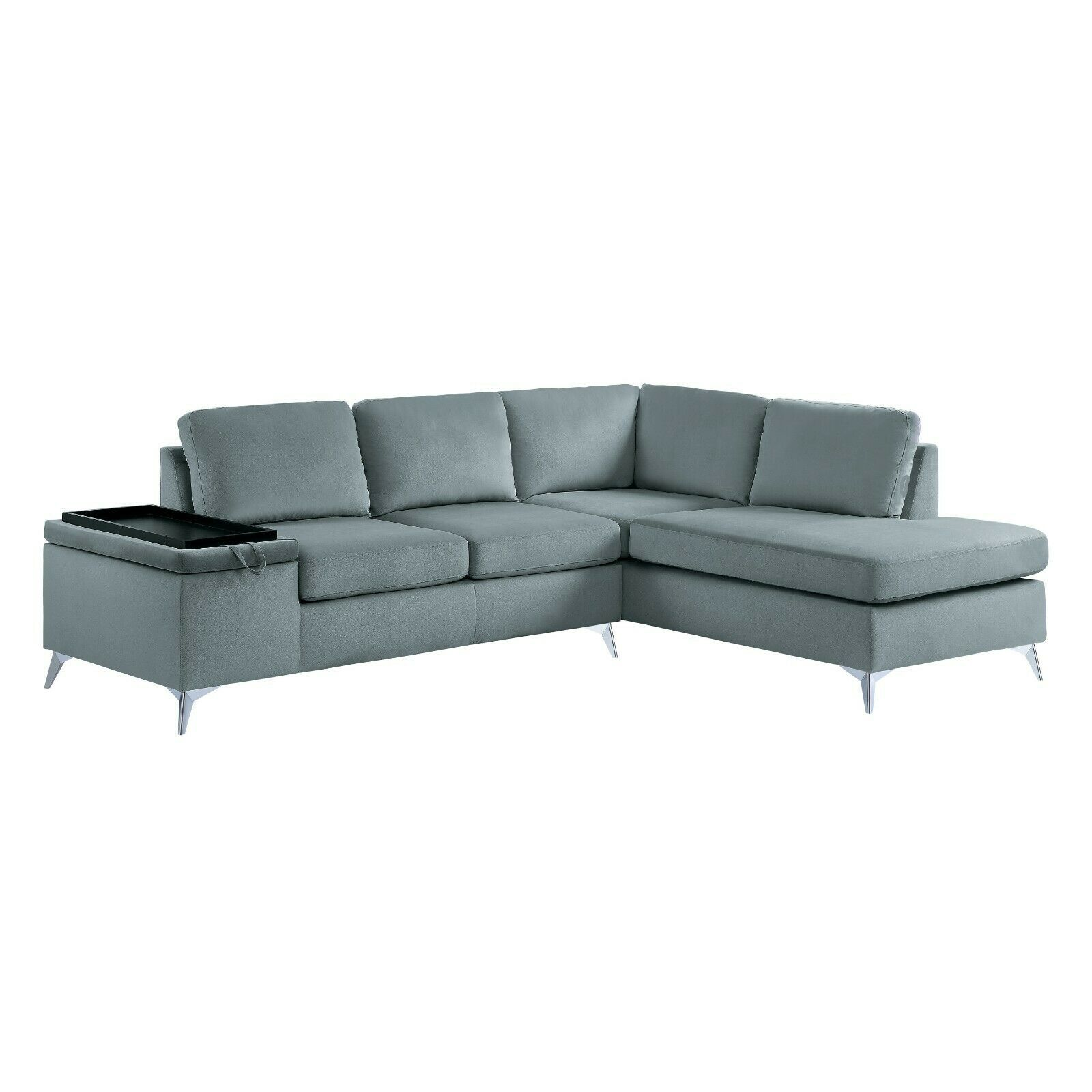 Sleek Grey Velvet Sofa Storage Sectional With Tray Table Living Room Furniture Sofa Living Ideas Of Sofa Living Sofaliving Sofa Sectional Sofa Modular Sofa Sofa