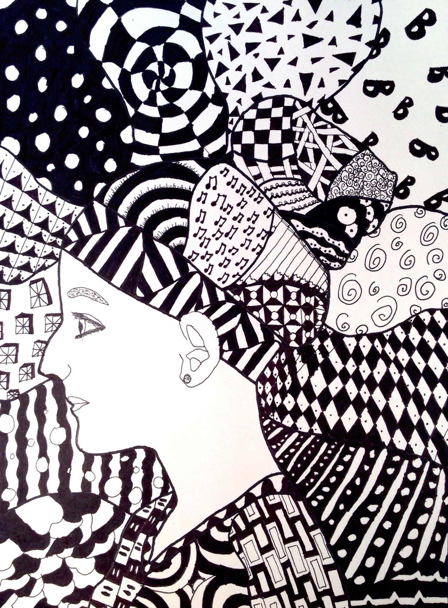 Zentangle Portrait By Brianna V