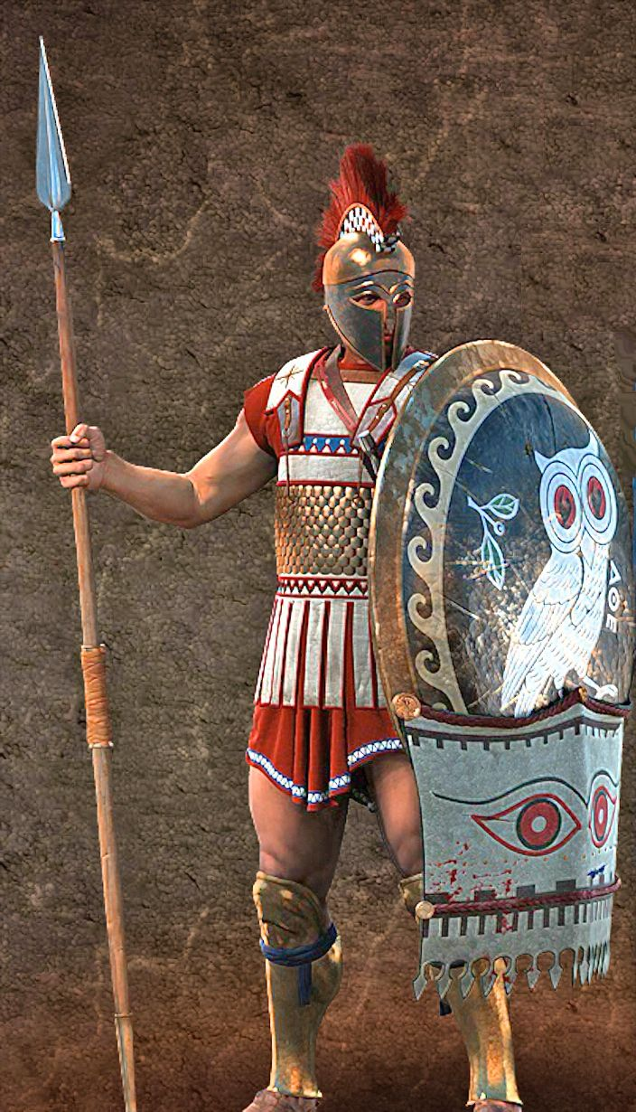 Athenian Hoplite, love the shield, and red on the uniform ...