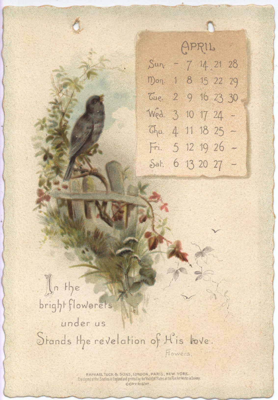 The Longfellow Calendar For 1895 Vintage Calendar Illustration
