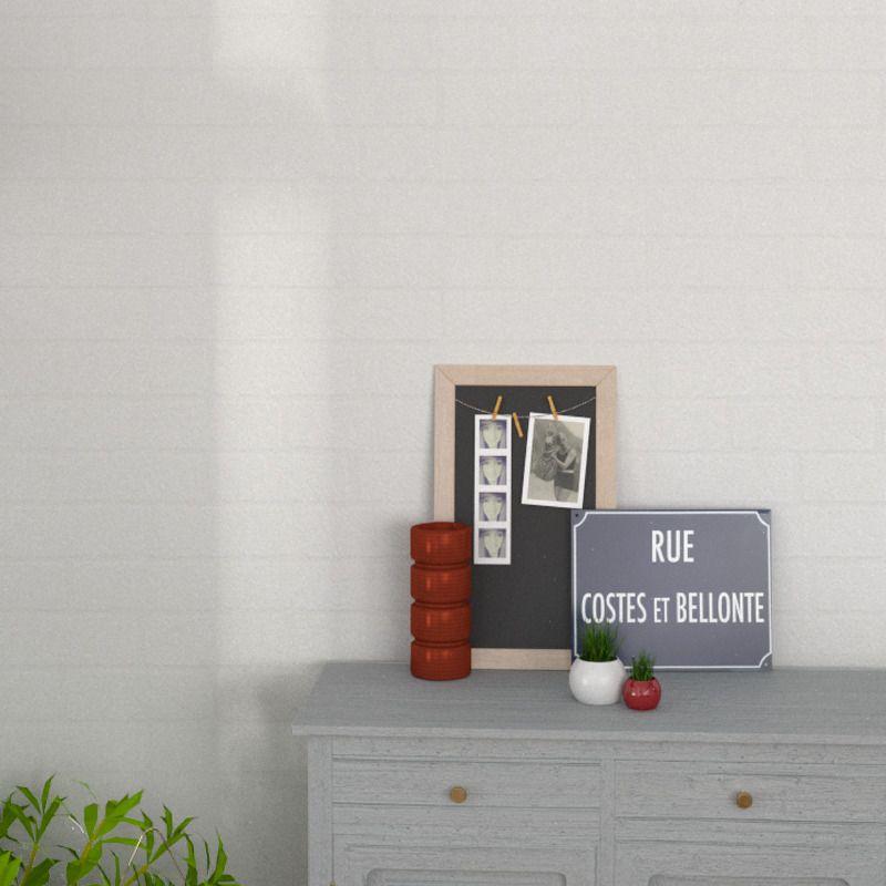 Papier peint vinyle BRIC coloris blanc Home Pinterest Articles