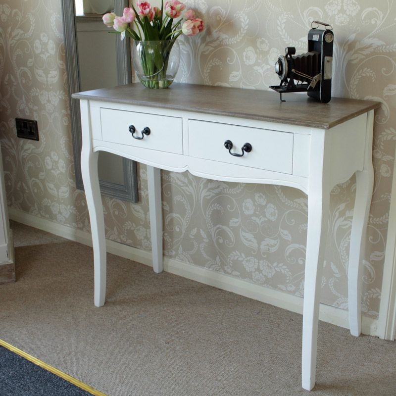 Two Drawer White Console Table Melody Maison Island refurb