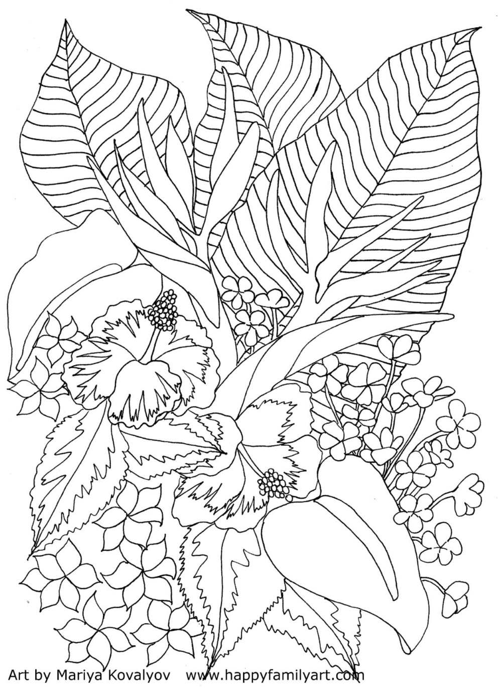 Tropicalflowers Happy Family Art Cool Coloring Pages Flower Coloring Pages Printable Flower Coloring Pages