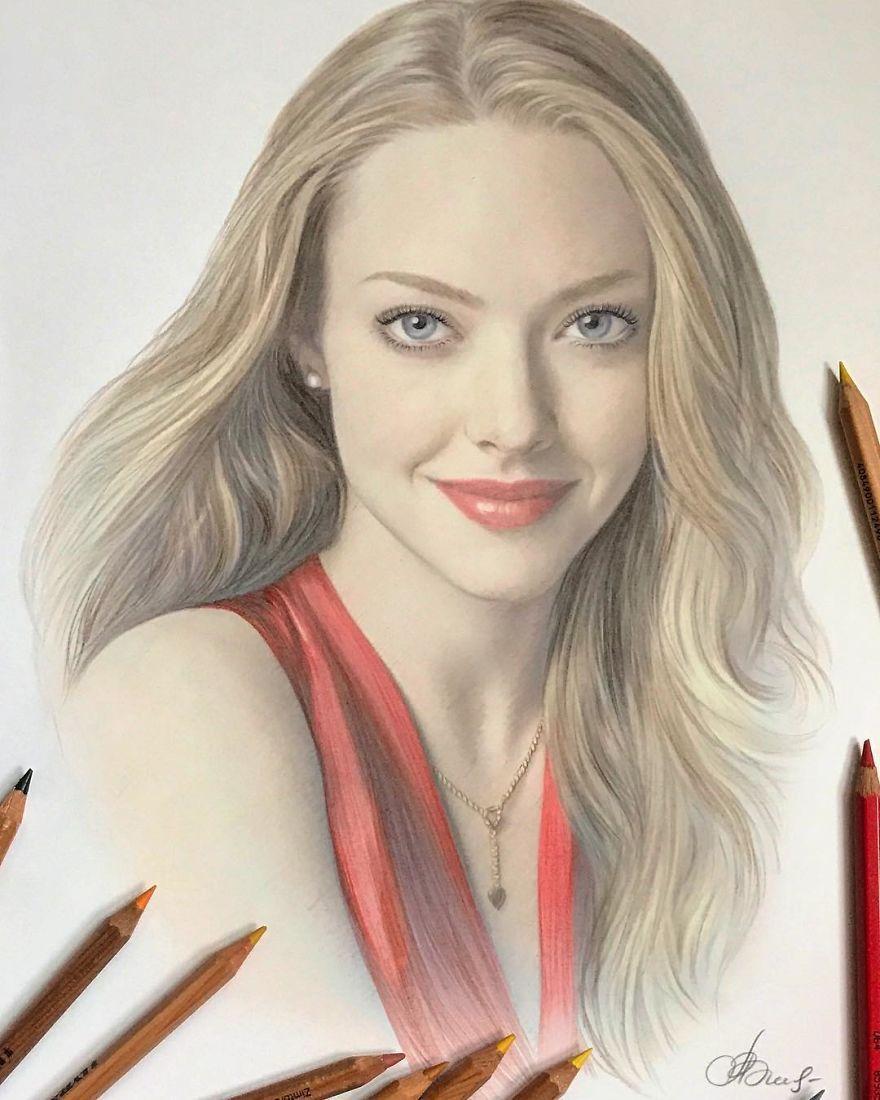 70 Desenhos Hiperrealistas Incriveis Feitos Apenas Com Lapis De Cor Desta Artista Russa In 2020 Realistic Drawings Portrait Celebrity Art