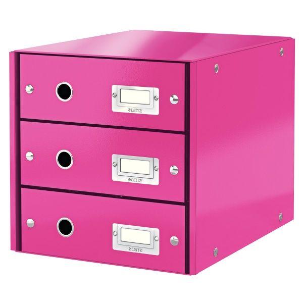 Met het Leitz WOW ladenblok in metallic roze creëert u eenvoudig extra opbergruimte op uw bureau. In drie grote laden bewaart u documenten, bureau-accessoires of kabels uit het zicht. Het stevige kartonnen Click & Store ladeblok is afgewerkt met een glanzende PP-laag, waardoor stof eenvoudig is af te nemen.