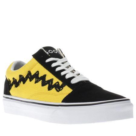 womens vans yellow old skool peanuts charlie trainers