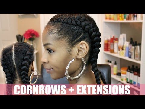 Two Cornrows On Natural Hair Extensions Natural Hair Styles Braids With Extensions Cornrows Natural Hair