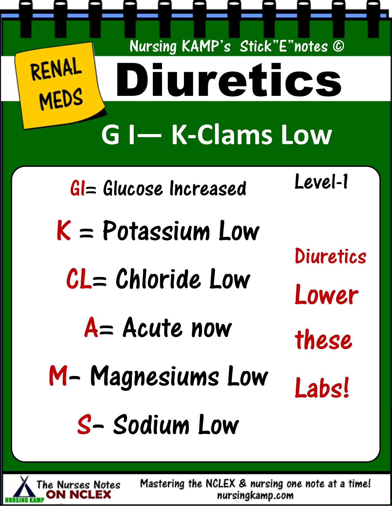 Diiuuretics Cause A Decrease Of These Labs So Check Your Labs Mag Nclex 200