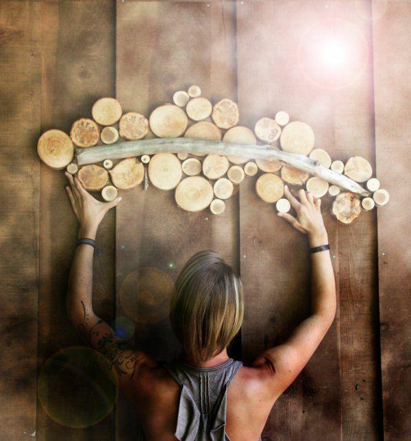 Wanddekoration selber machen - puristische Skulpturen aus Naturholz ...