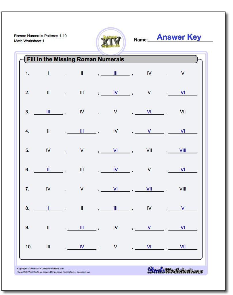 small resolution of Roman Numeral Worksheets for 3rd