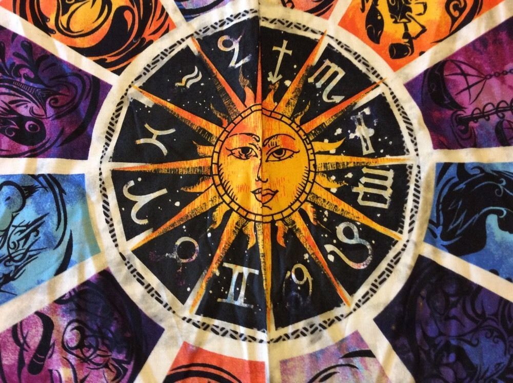 T113 Zodiac Signs Astrology Stars Planets Panel Cotton