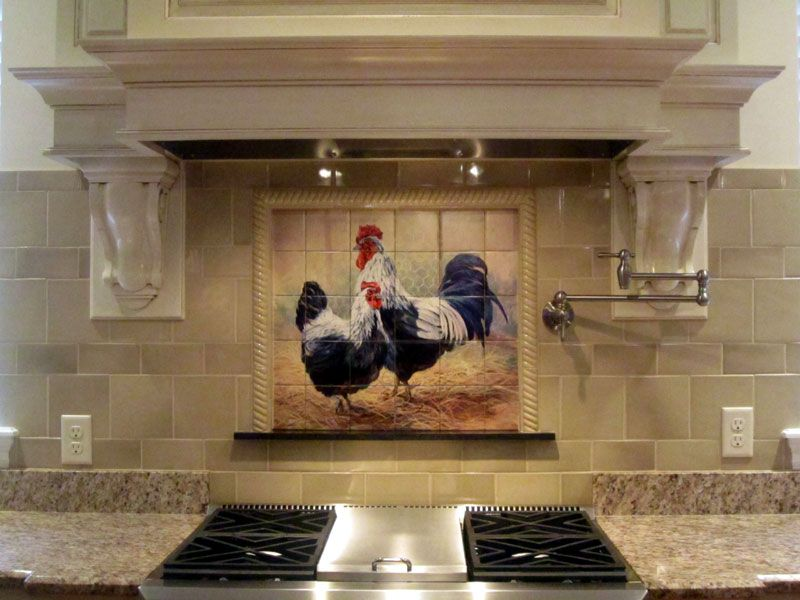 Black Rooster and Hen - Tile Mural in 2019 | Rooster kitchen ...