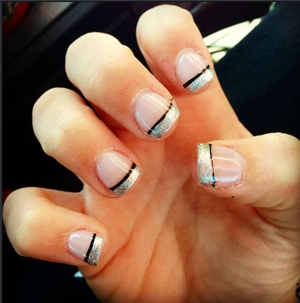 Silver sparkly w/ black stripe prom nails | Hair and Makeup ...