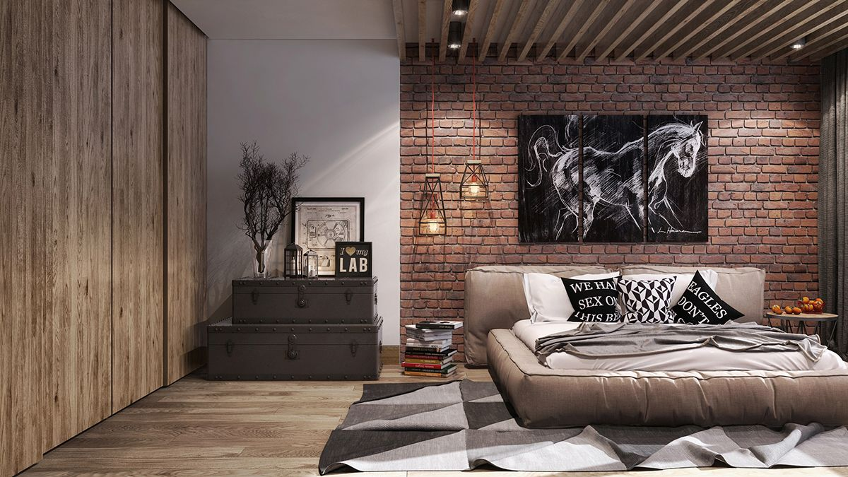 exposed brick and a wood slat ceiling give this modern room a