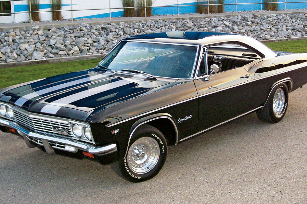 65 Black Chevrolet Impala white stripe
