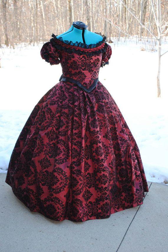 CUSTOM RESERVED PURPLE Victorian Civil War Taffeta Ball Gown Dress in flocked velvet taffeta colors #dressesfromthesouthernbelleera