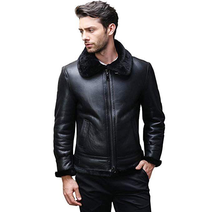 daec903e4c21  Affiliate  LINAILIN Men s Shearling Coat Genuine Leather Outerwear Flight  Jacket Pilot Leather Jacket (S