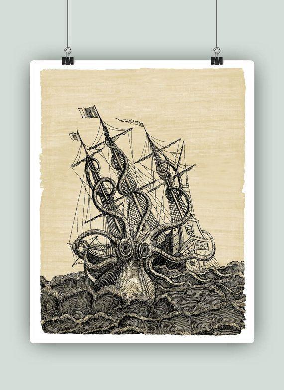 Nautical Art Sailing Art Decoration Sailboat Decor Giant Etsy Kraken Art Etsy Wall Art Coastal Wall Art