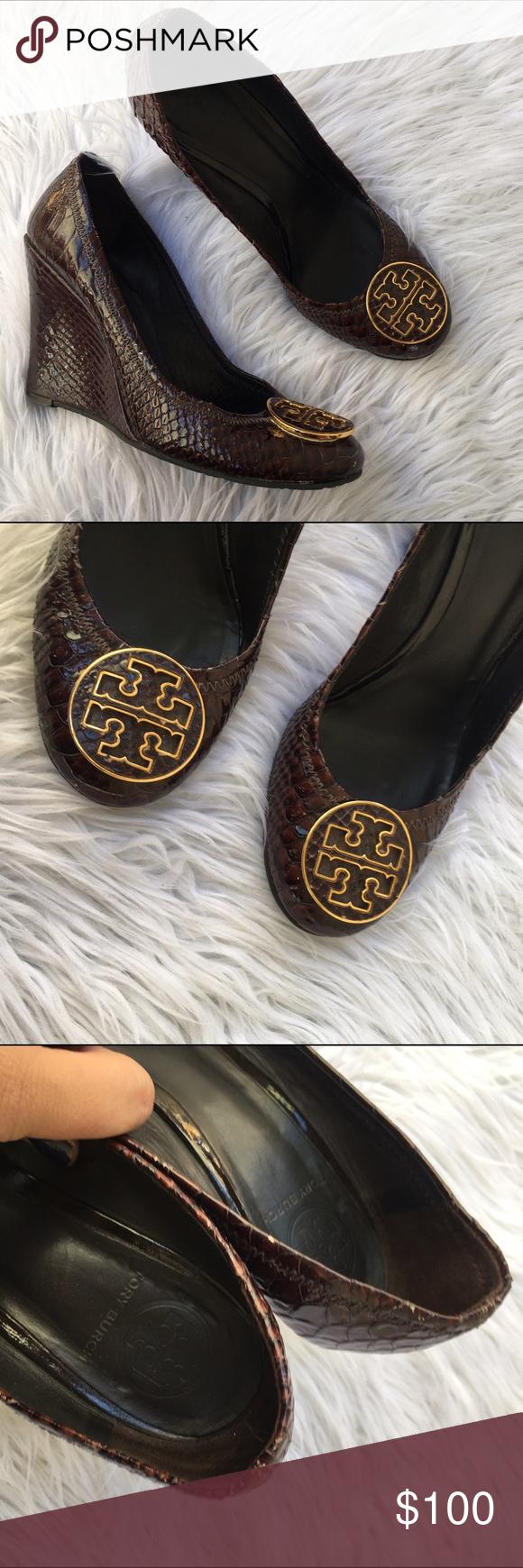 Tory burch reva wedge sz 8.5 shoes heels snakeskin