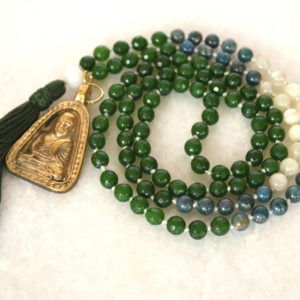www.akashcreative.com Blessed Mala Necklace with Bronze Buddha.  Moonstone, Green Jade and Amazonite
