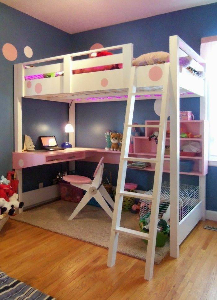 Children S High Bed Blue Wall Paint Wanddeko Desk Loft Bed Kids