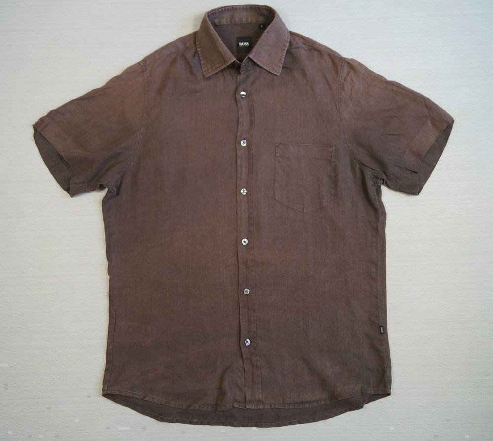 HUGO BOSS Men s Vintage LINEN Shirt Top Size S Dark Brown Short Sleeve