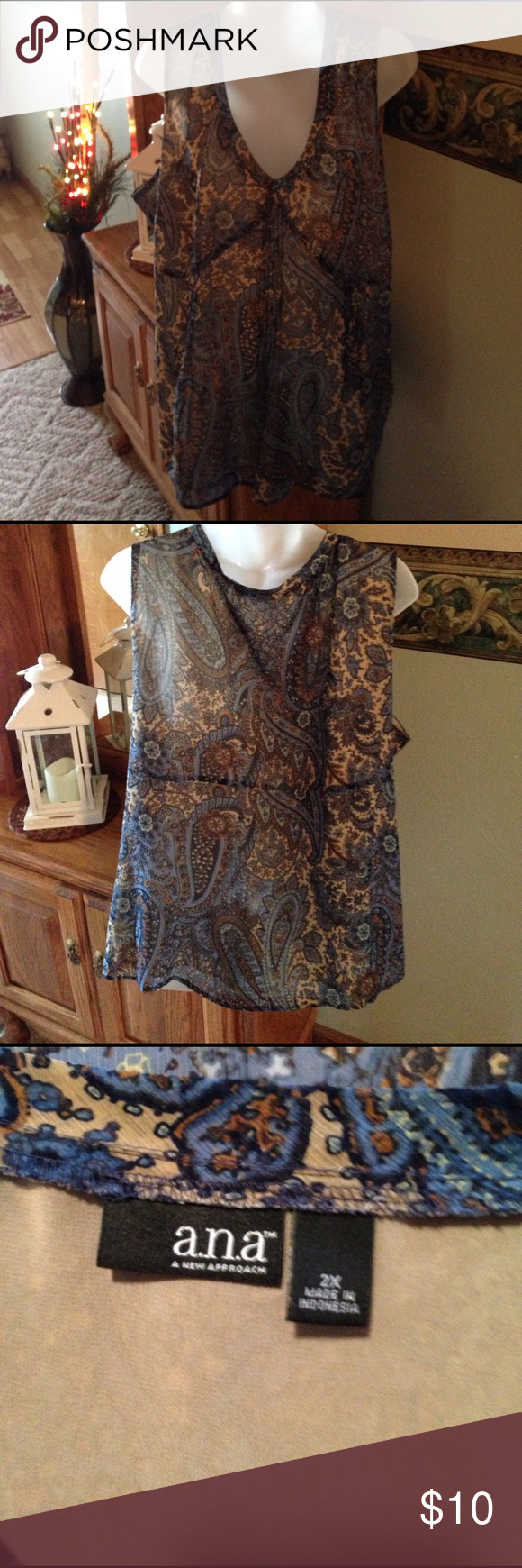 a.n.a. A New Approach Top a.n.a. A New Approach Women's Plus Size 2X Top. Zips up side. 100% Polyester With Lining. Great Preowned Condition. Any questions please ask. Thank You 😊 a.n.a Tops Blouses