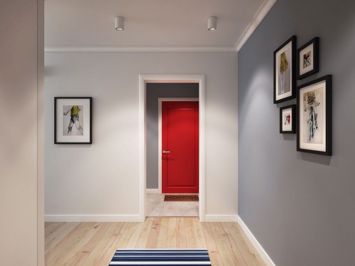 Apartment Red Entrance Door Adds Color To The Sleek And Relaxing Scandinavian Interior Wooden Flooring From Going In Style