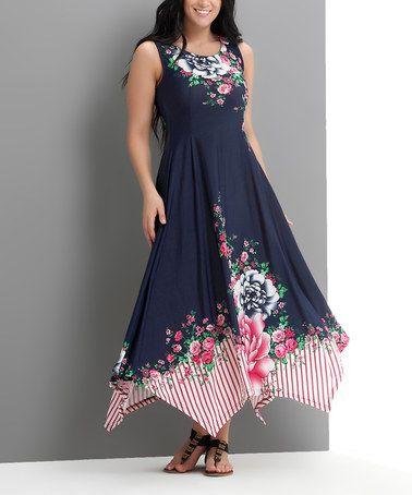4104db5440 Look what I found on  zulily! Navy Floral Pop Art Handkerchief Maxi Dress -  Plus  zulilyfinds