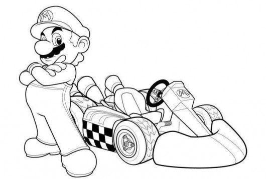 Quatang Gallery- Mario Kart Racing Coloring Pages Kleurplaten Mario Kart Mario