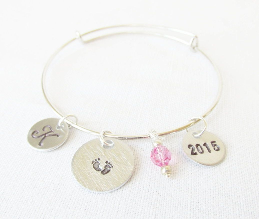 Alex And Ani Inspired Silver Adjule Bangle New Baby S Feet Monogrammed Initial Birthstone Birth Year By Foreverafterbeading On Etsy