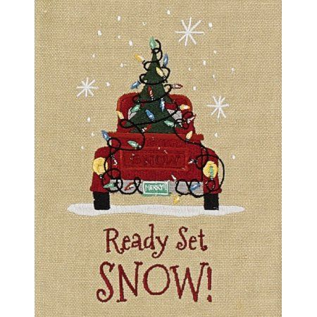 Ready Set Snow Old Red Pickup Truck and Christmas Tree Embroidered Kitchen Towel - Walmart.com