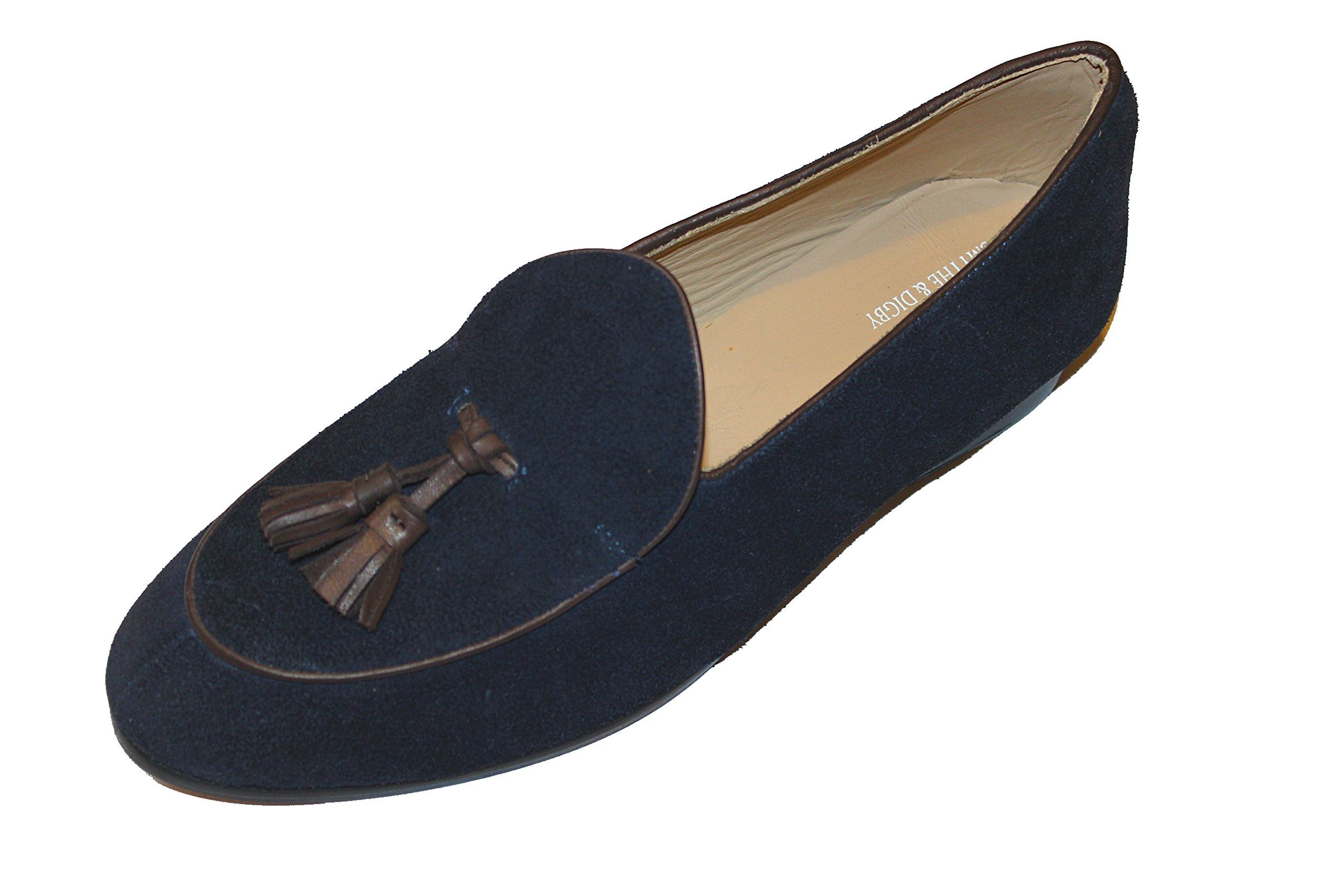 07807e554d032 Smythe & Digby Men's Navy Blue Suede Belgian Loafers with Tassels ...