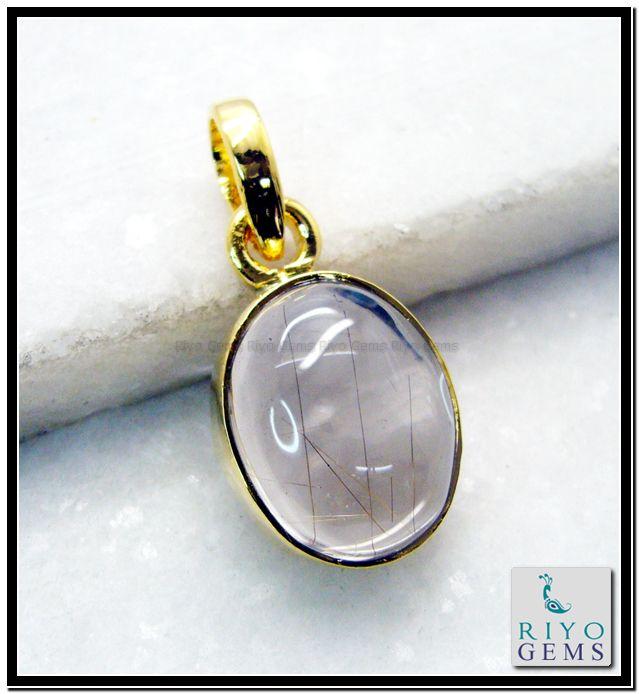 Rutile Quartz Gemstones 18 Ct Y Gold Plating Faith Pendant L 1.5in Gppruq-7006 http://www.riyogems.com