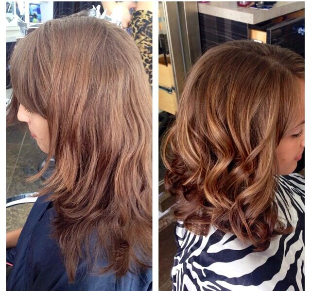 Balayage before and after. Subtle and will not require a lot of touching up! I love it!