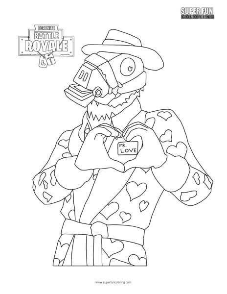 Mr Love Fortnite Valentine S Coloring Page Super Fun