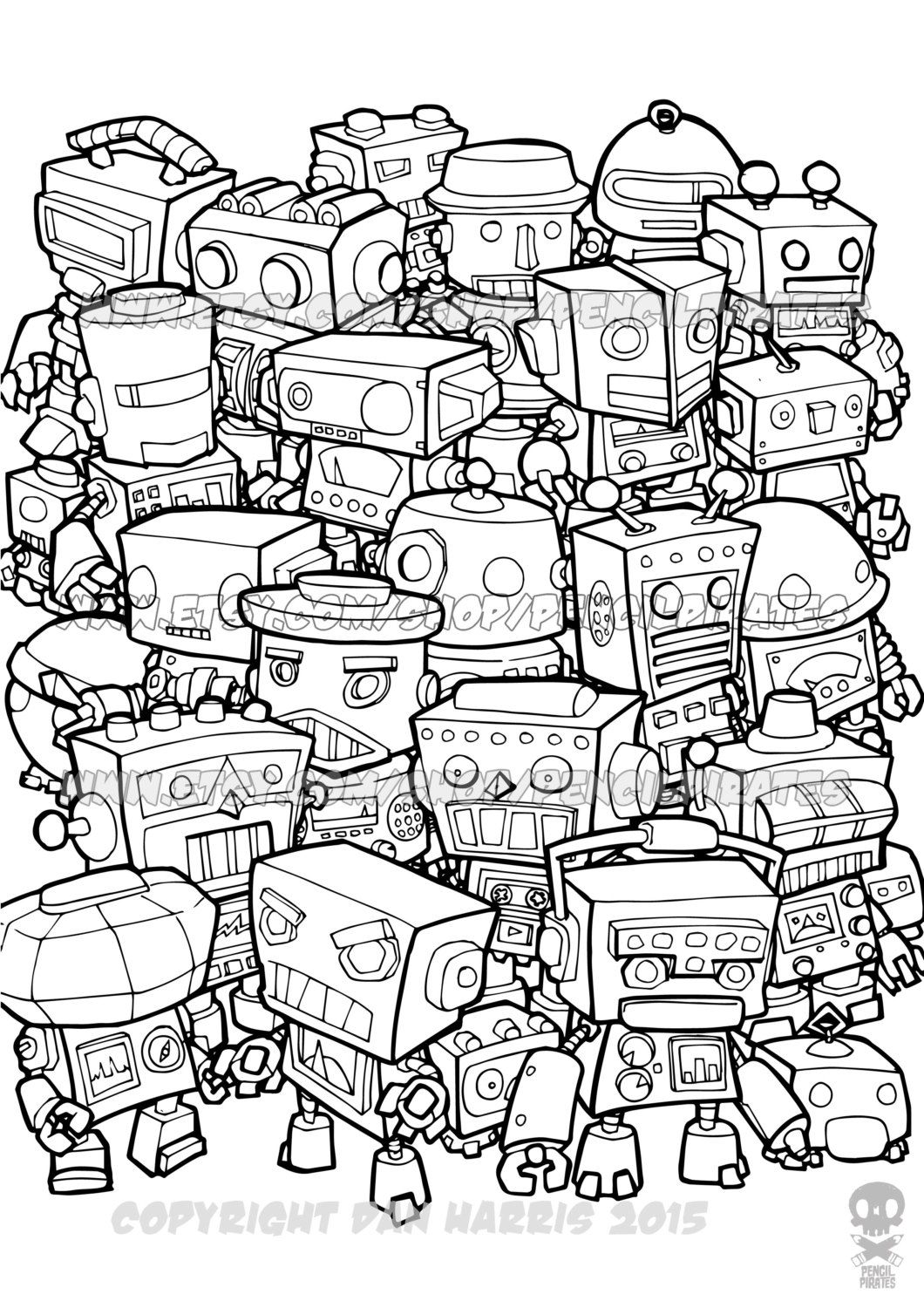 Retro Robot Colouring Page Adult Colouring Book Page One Page