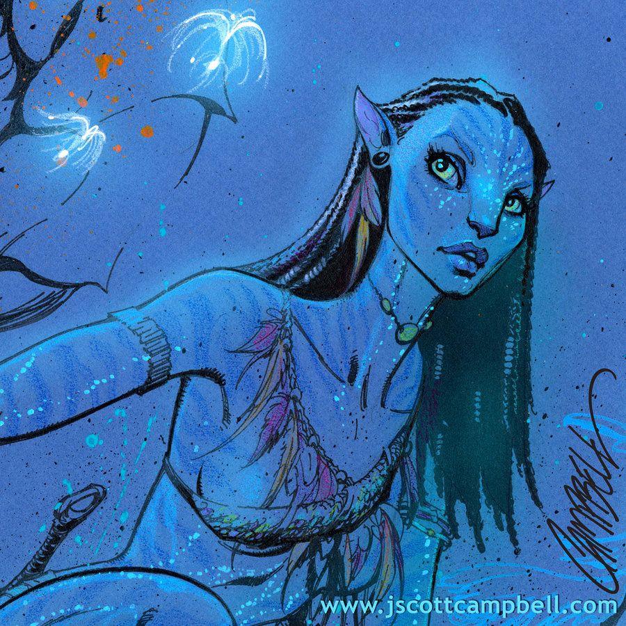 "Avatar Art: Neytiri From AVATAR ""detail"" By *J-Scott-Campbell On"