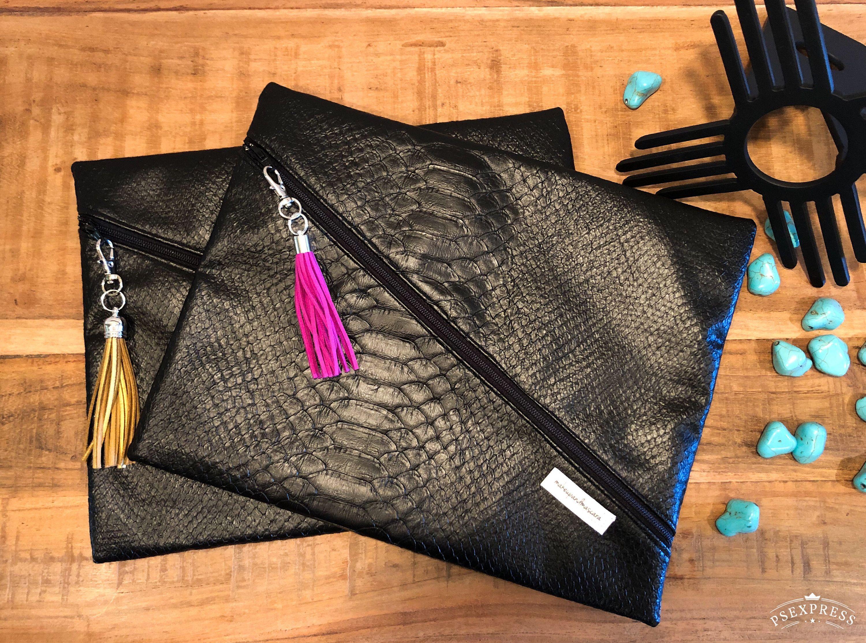 Black Vinyl Croc Makeup Bag Ready To Ship Makeupandmascara
